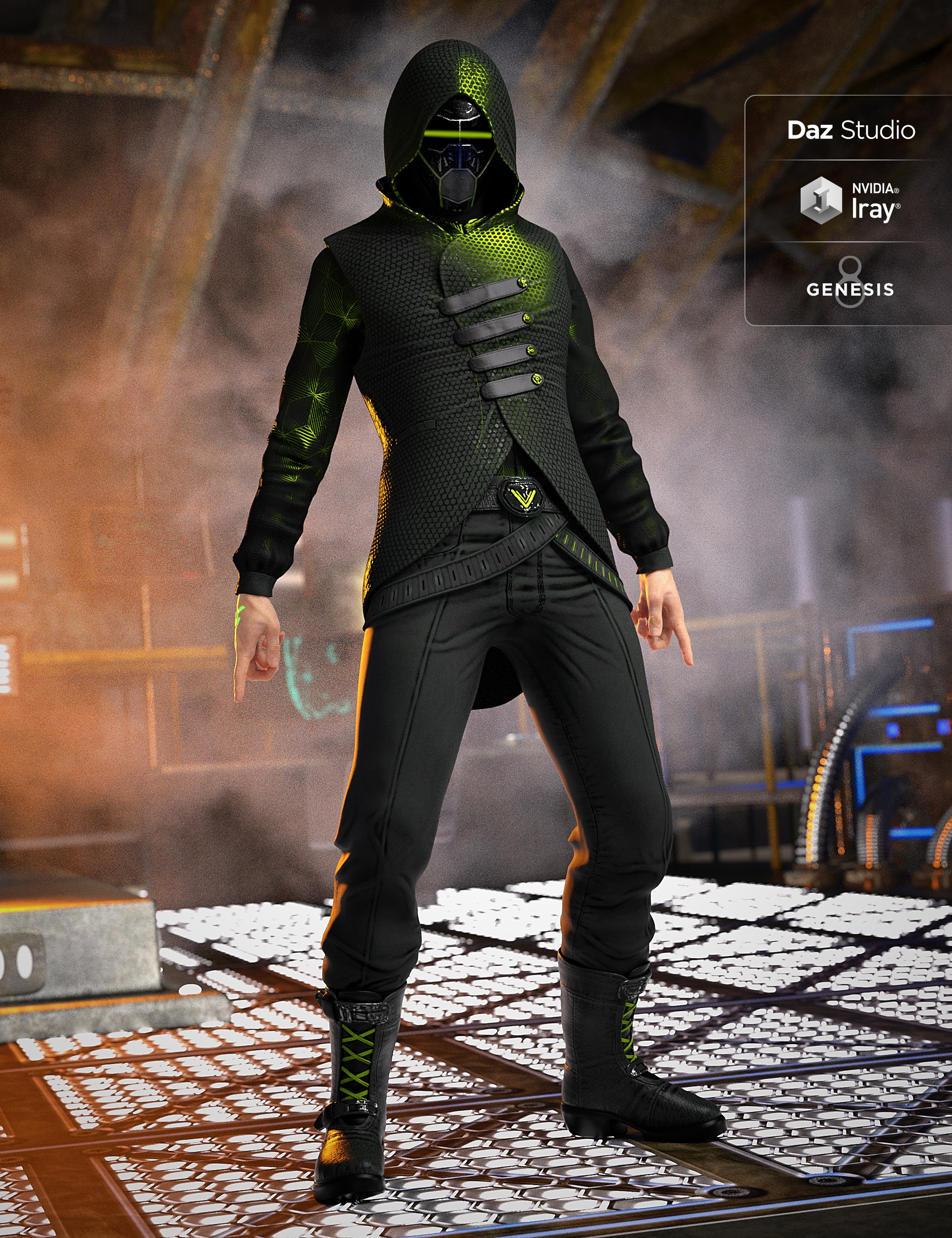Sci Fi Assassin Outfit for Genesis 8 Male(s)