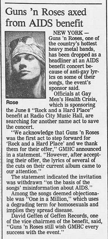 1989.03.15 - Journal and Courier - Guns N' Roses axed from AIDS benefit 0YLsRnYB_o