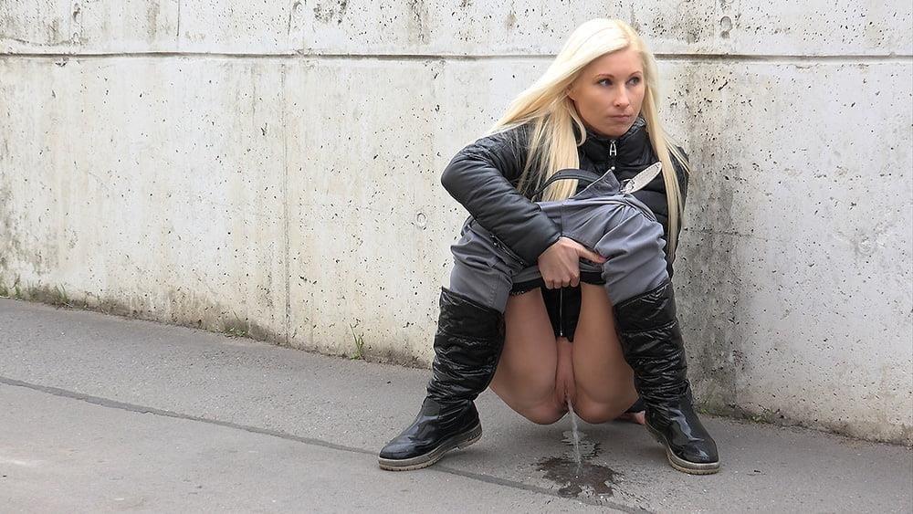 Teen girl peeing in public-9302