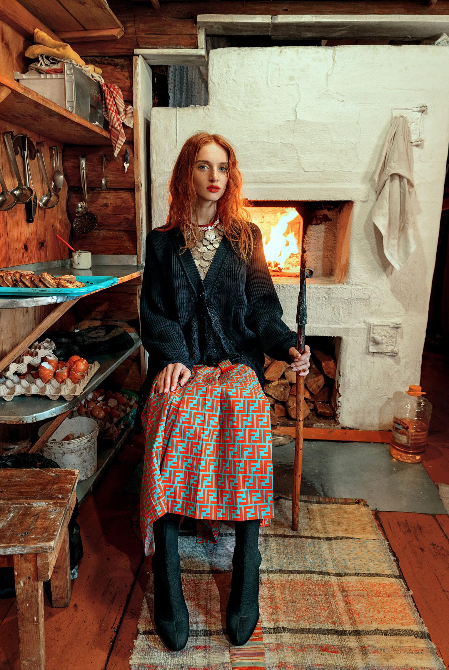 Модные наряды в деревенских интерьерах / фото 08