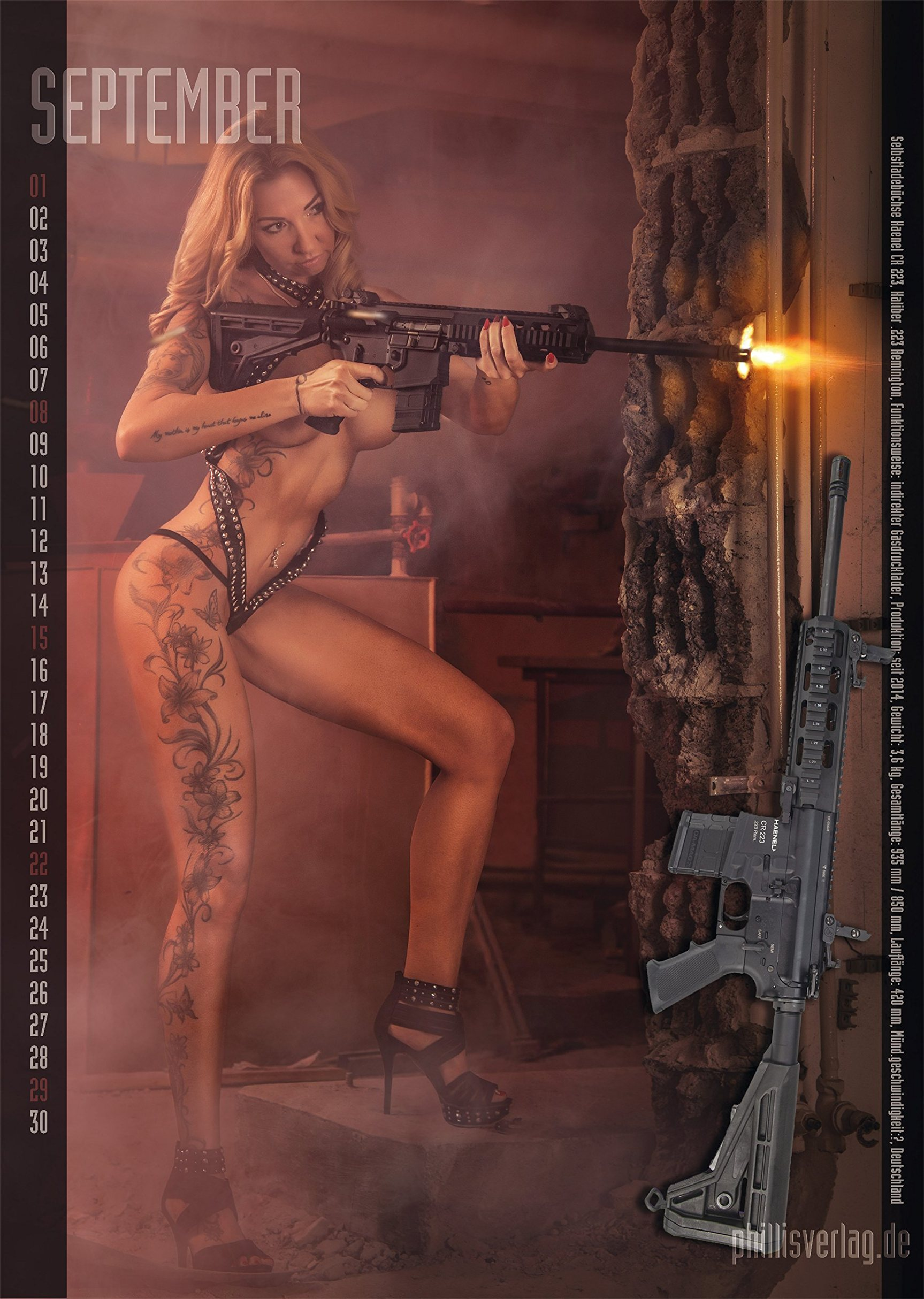 Girls and Guns / 2019 calendar by Jorg Neubert - сентябрь