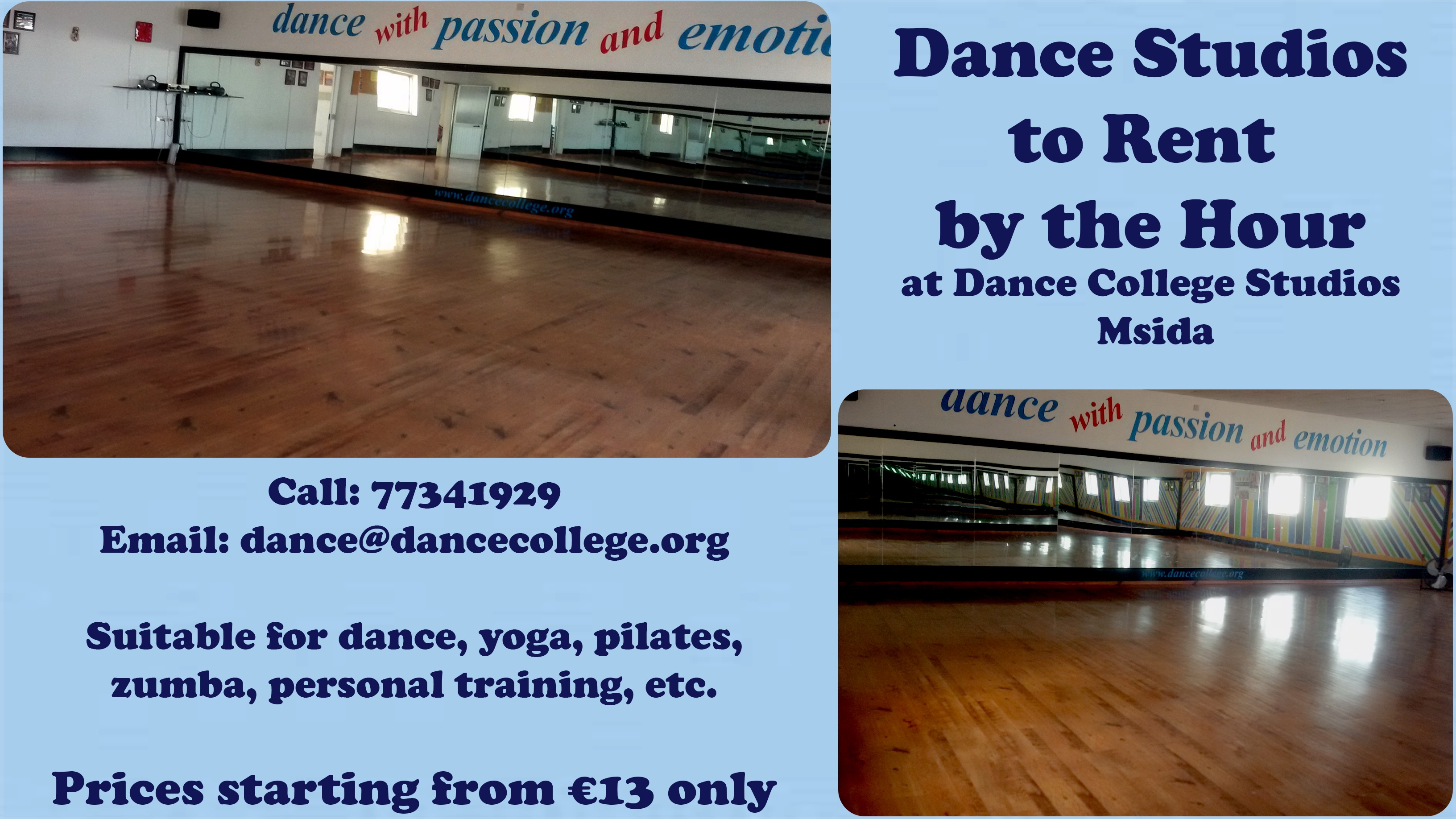 Dance College studio rent advert