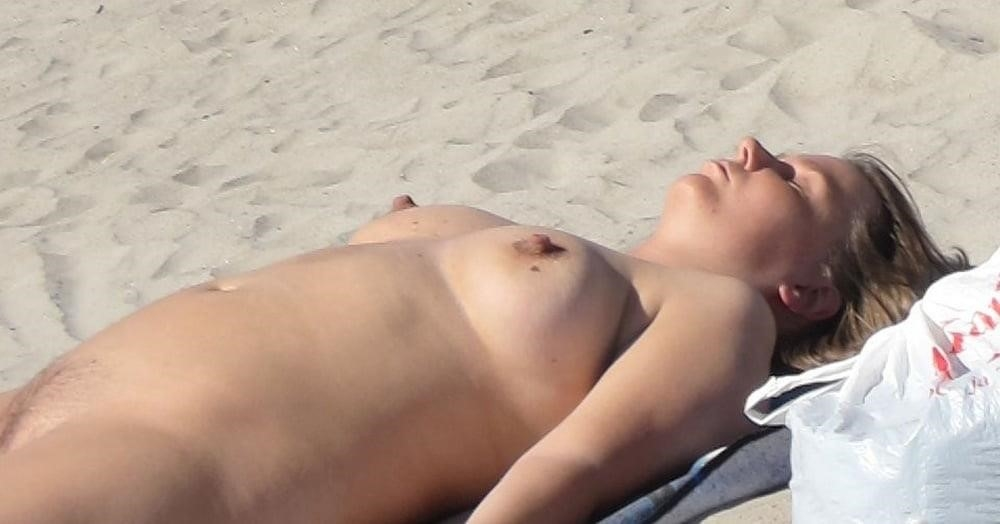 Nude blonde at beach-4884