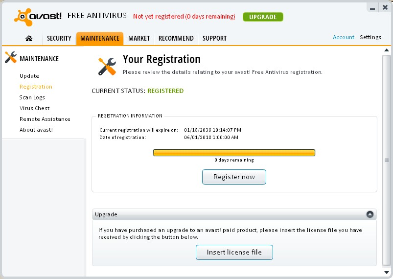Avast free registration key for older versions has a problem!!!