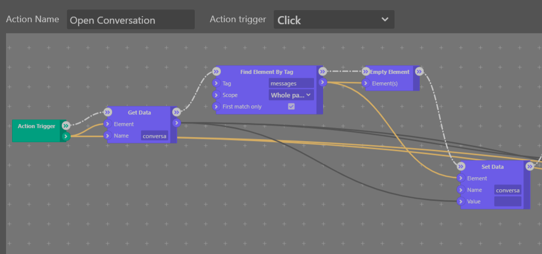 Conversation Click Action Workflow - Sktch.io No-Code Builder