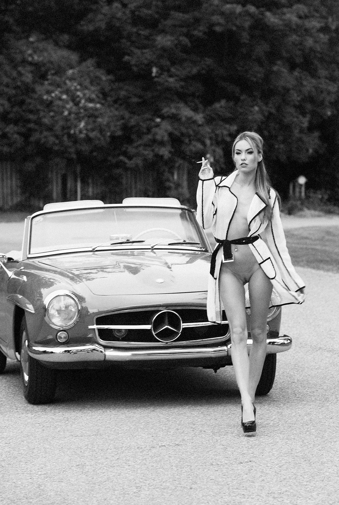 Mercedes 190 SL and Veronika Fasterova by Martin Wieland / Playboy  South Africa may 2014