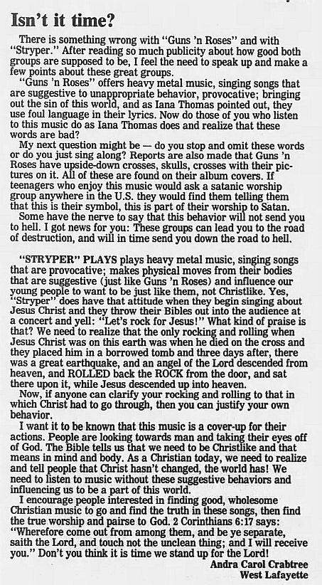 1989.02.21/04.10 - Journal and Courier (Lafayette, IN.) - Readers' letters/Debate on GN'R XYvcC4j6_o