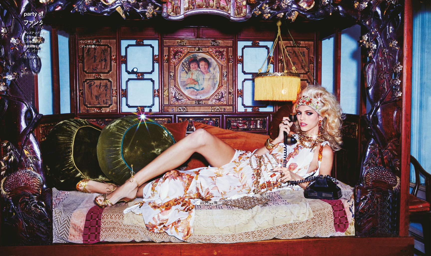 Party of One / Devon Windsor by Ellen von Unwerth in Numero Tokyo january 2018