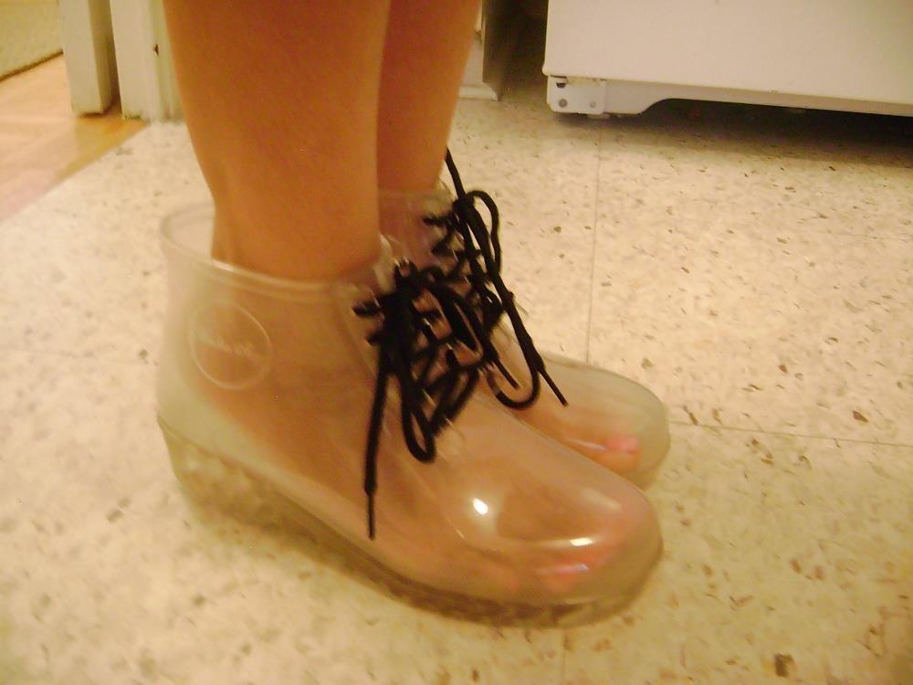Womens white rain boots-2315
