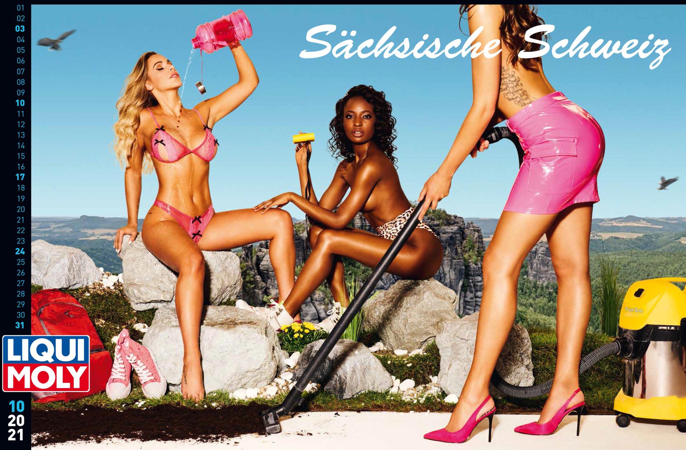 Фирменный календарь с девушками автоконцерна Liqui Moly на 2021 год / октябрь 2021