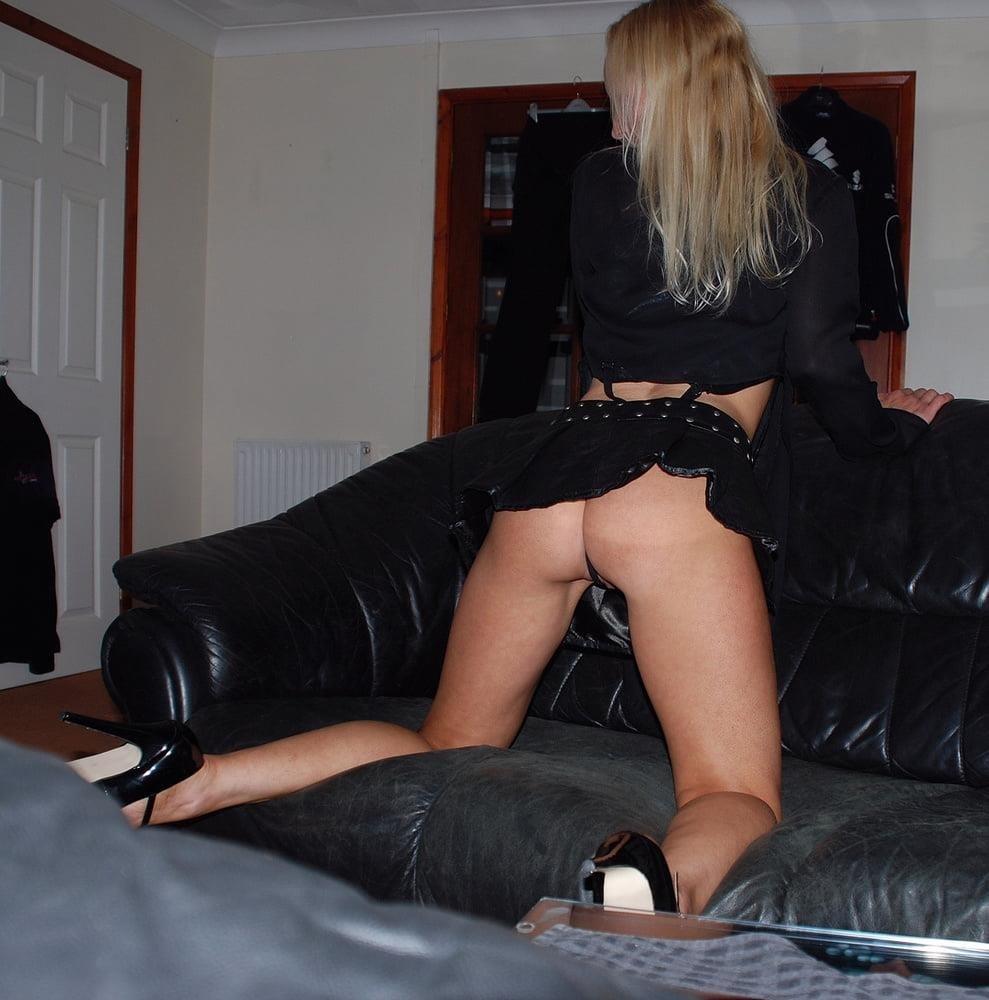 Black real leather mini skirt-2414