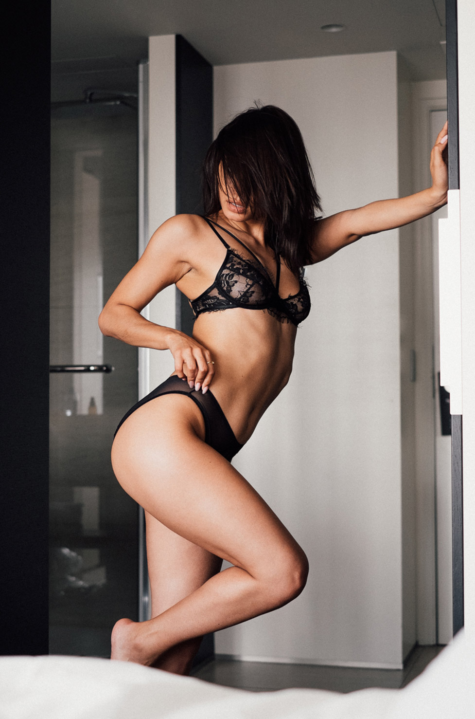 Zoe D'Albuquerque in lingerie by Julien LRVR in The Hotel, Brussels