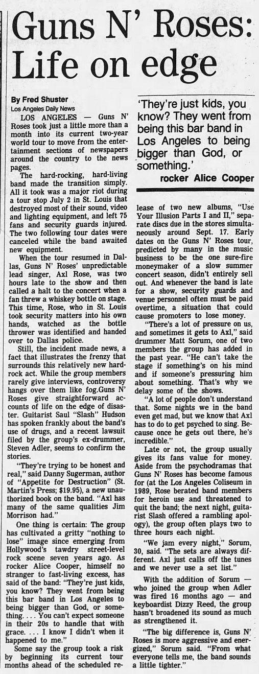 1991.07.25 - Wisconsin State Journal/LA Daily News - Guns N' Roses: Life on edge (Matt) X8G6kvIh_o