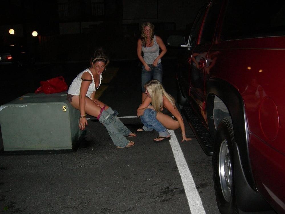 Black girl peeing in public-2303