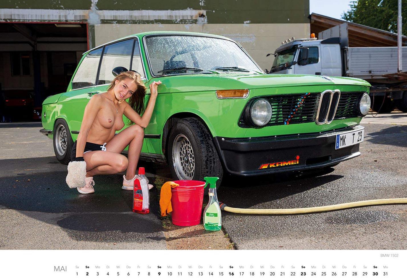 Эротический календарь с сексуальными полуголыми девушками, моющими машины / май