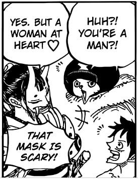 okiku de one piece, anime, mujer trans