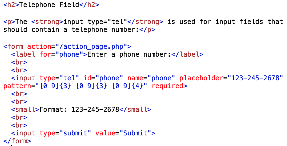 telephone number code examples