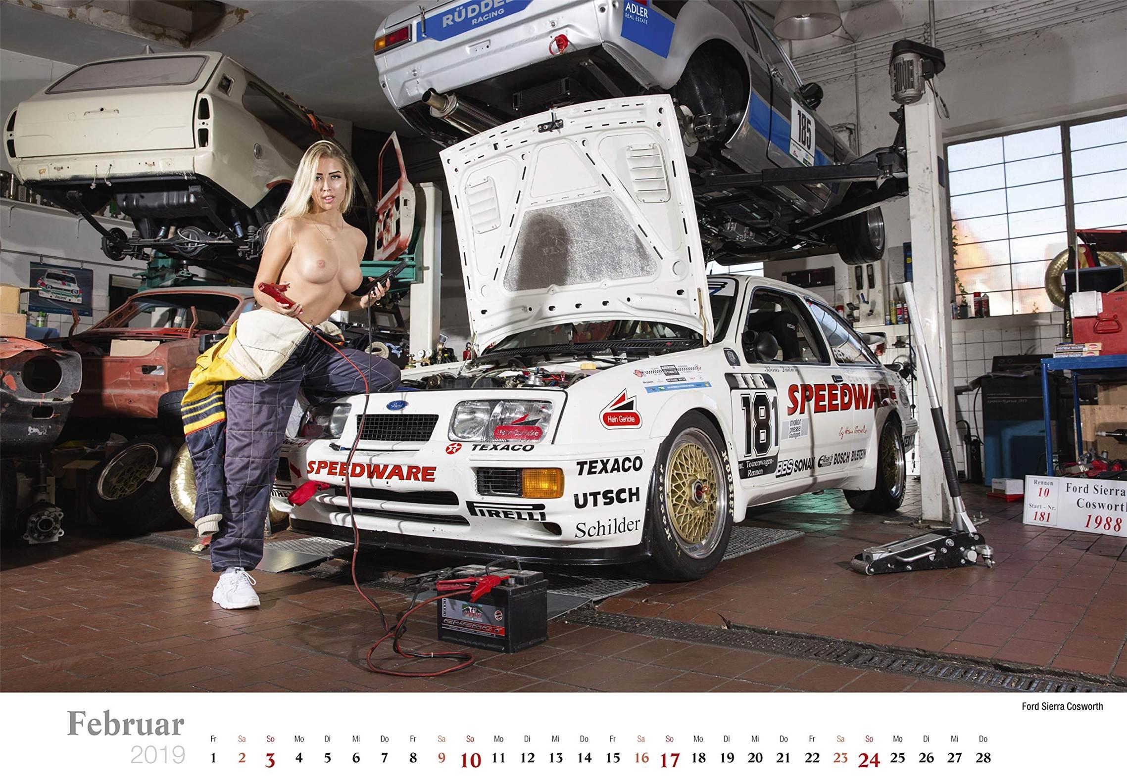 Сексуальные девушки ремонтируют автомобили / Ford Sierra Cosworth / Schraubertraume / 2019 erotic calendar by Frank Lutzeback