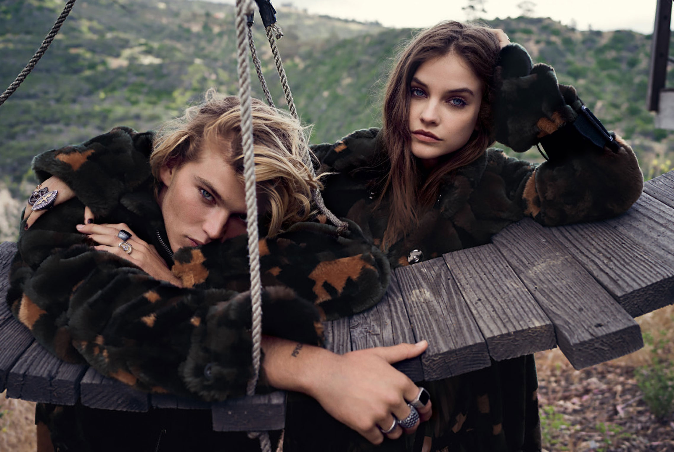 Rogue Riders / Barbara Palvin and Jordan Barrett by Beau Grealy / C Magazine september 2017