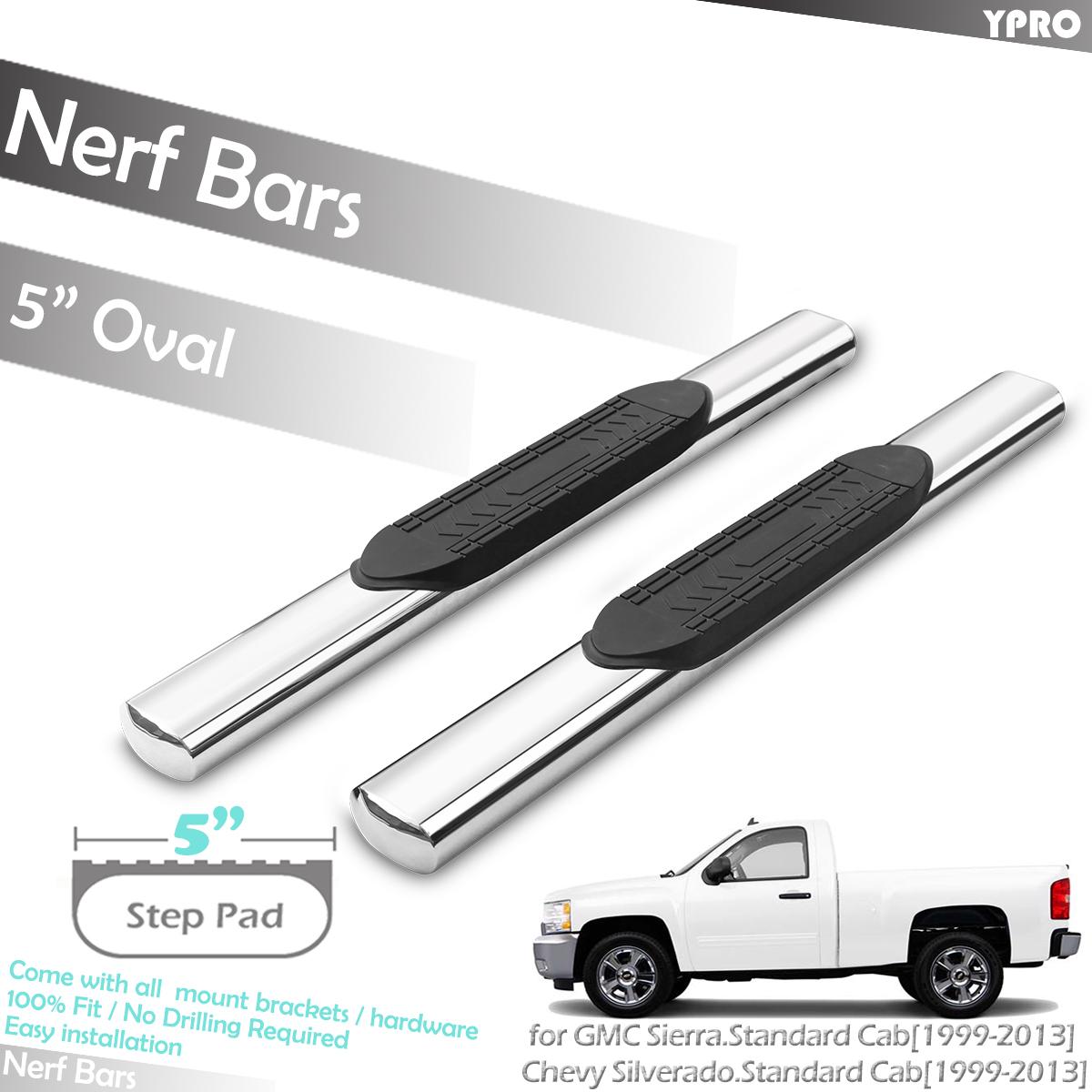 "1999-2013 Silverado Sierra Crew Cab 5/"" Oval Side Steps Stainless Steel"