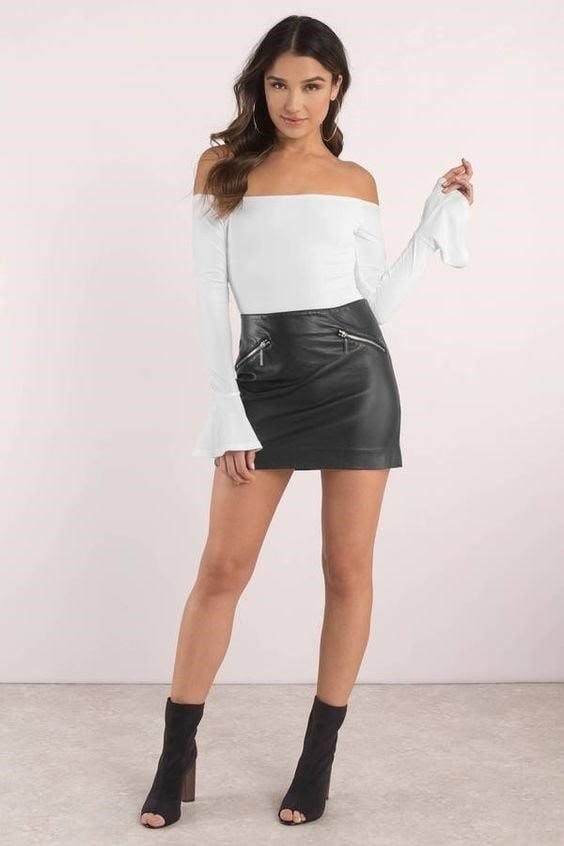 Sexy leather mini skirt-7948
