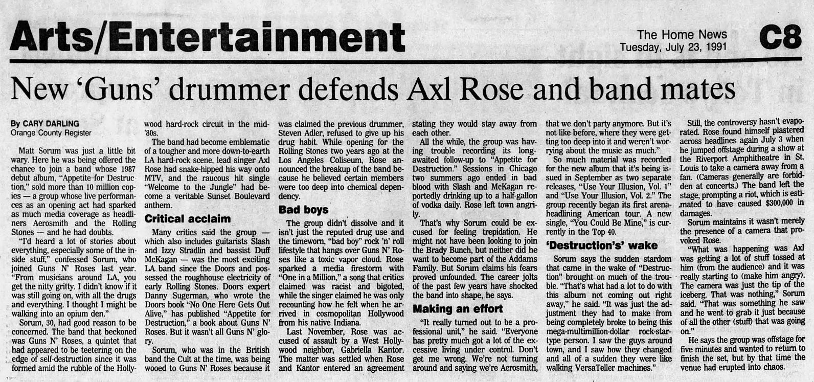 1991.07.23 - The Home News/Orange County Register - New 'Guns' Drummer Defends Axl Rose (Matt) 1YIPFWPF_o