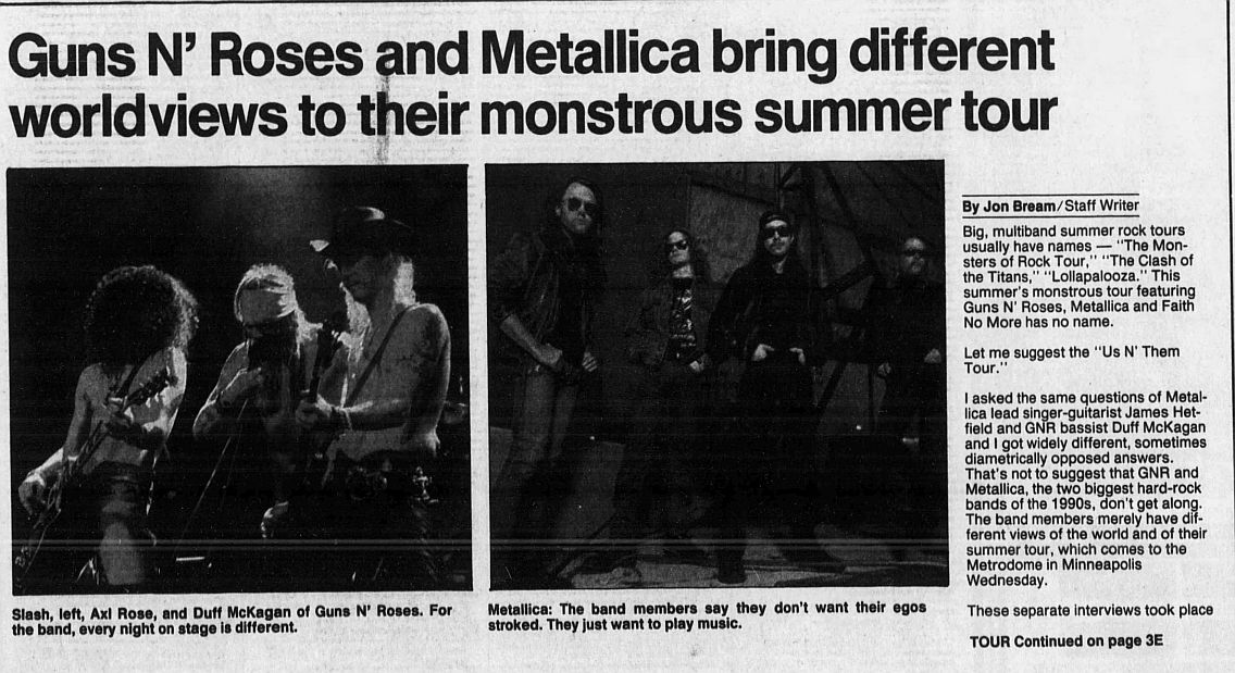 1992.08.04 - Star Tribune - Guns N' Roses and Metallica bring different worldviews to their monstrous summer tour (Duff, Hetfield) VtYsrrTE_o