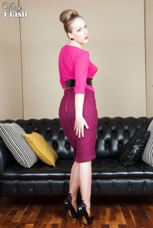 Genuine leather pencil skirt-7714