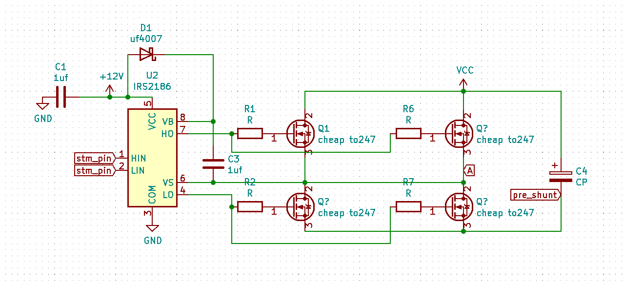 irs2186 driver with dual 2 pairs of mosfets