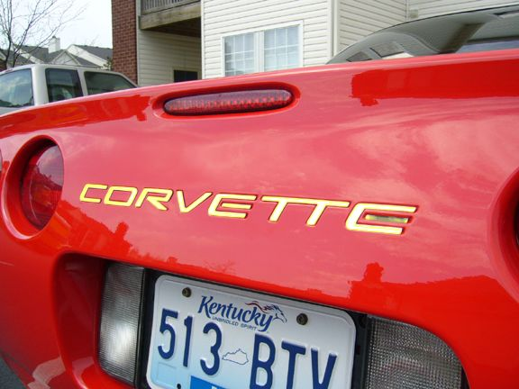 1997-2004 Corvette C5 rear inserts letters GOLD STAINLESS STEEL