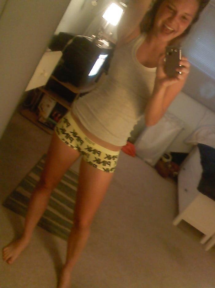 Blonde teen nude mirror selfie-7040