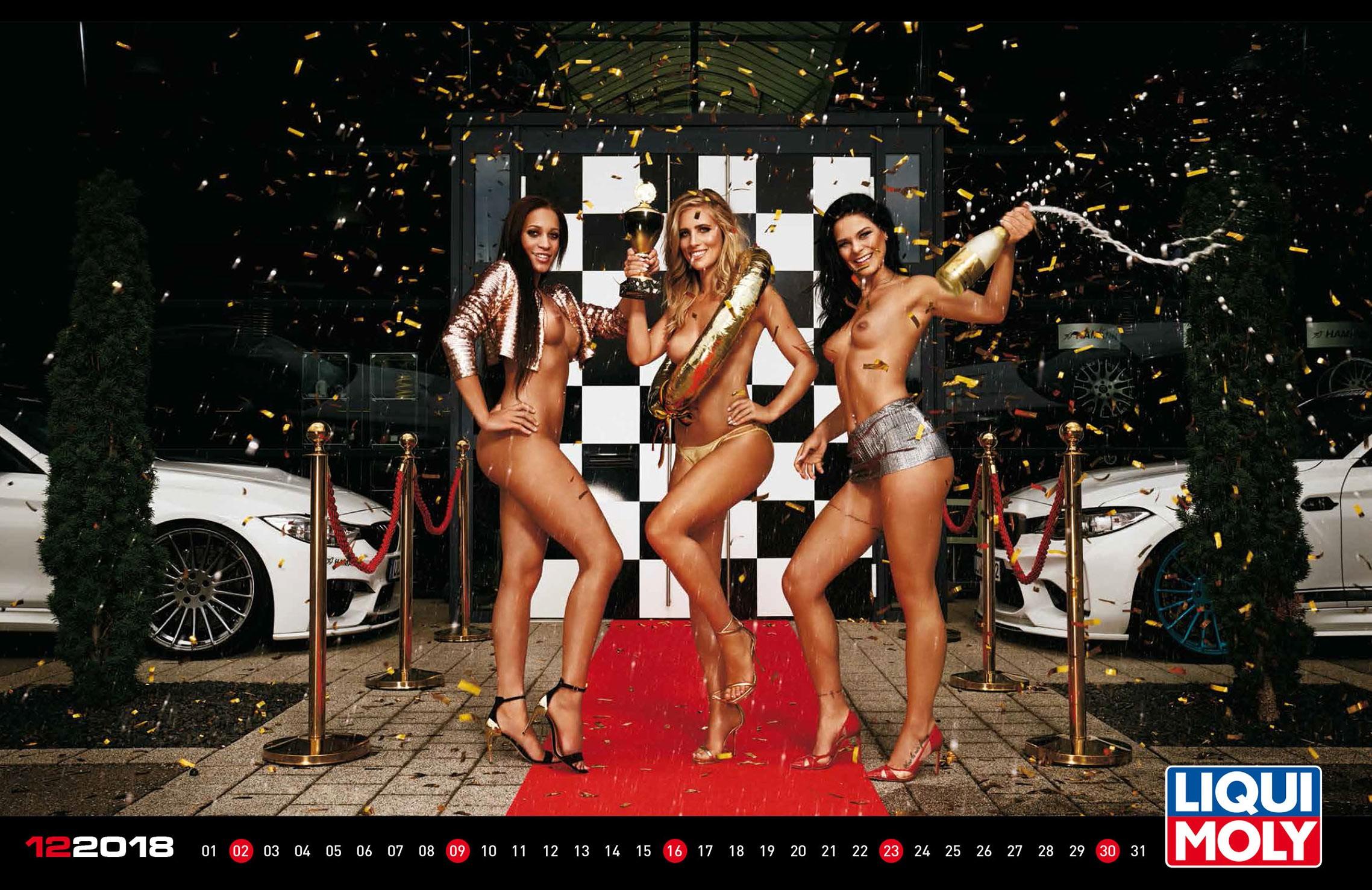 Сексуальные и откровенные девушки, автомобили и мотоциклы в календаре Liqui Moly на 2018 год (эротическая версия)