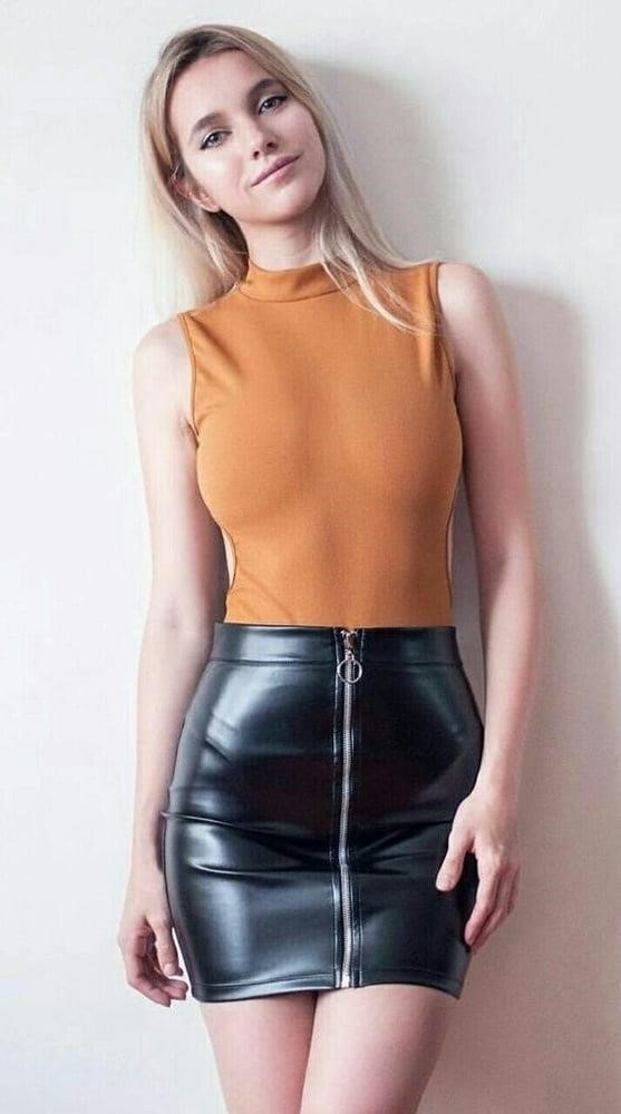 Sexy leather mini skirt-6900