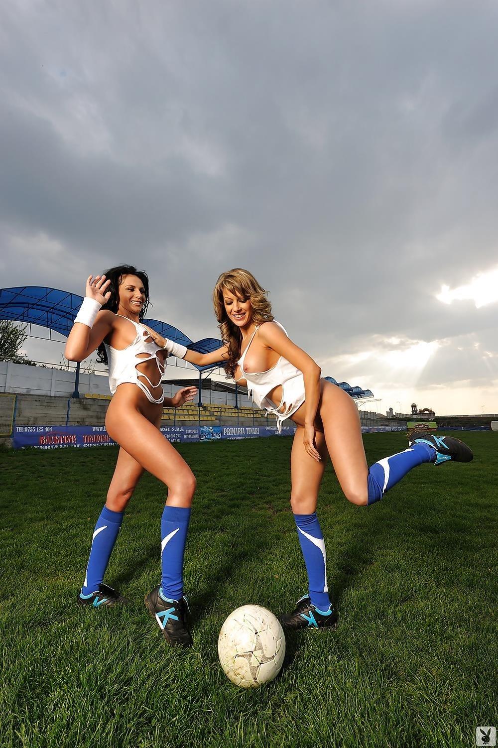 Girls naked playing football-5447