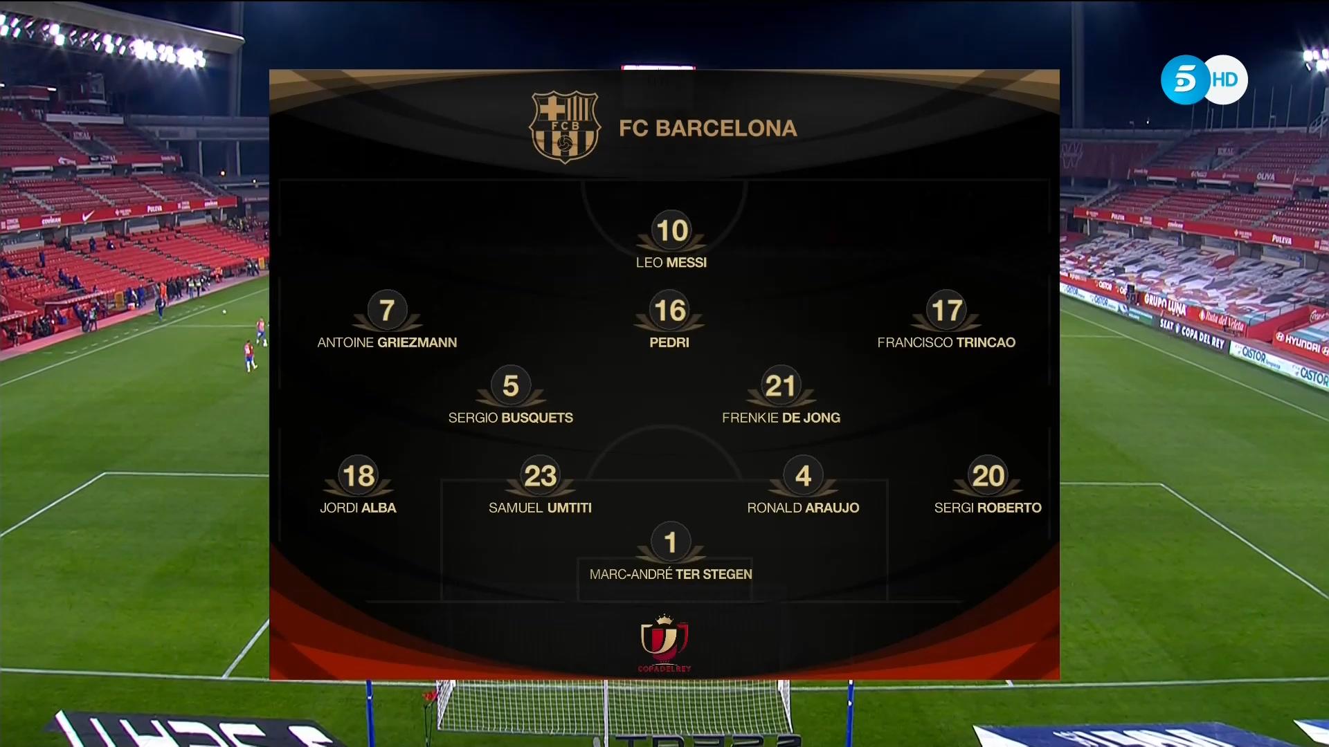 Copa del Rey 20/21 Quarter-Final - Granada vs Barcelona ...
