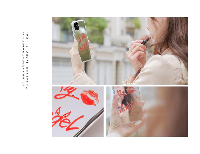 鏡面デザインiPhone ケース (スワロフスキー)エンゼル