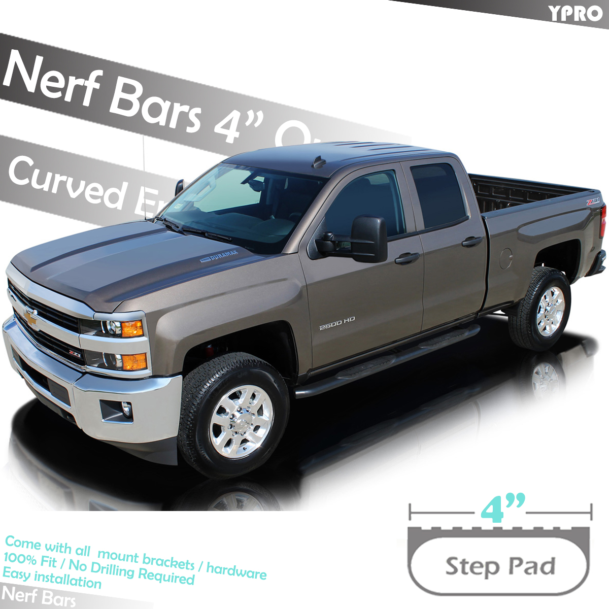 """Fits 2005-2019 Toyota Tacoma Double Cab 4/"""" Black Curved Running Boards Nerf Bars"""