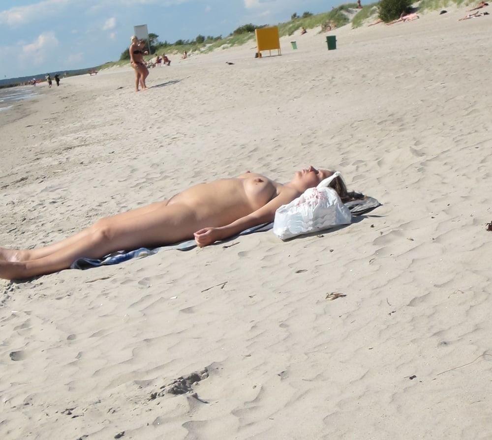 Nude blonde at beach-2173