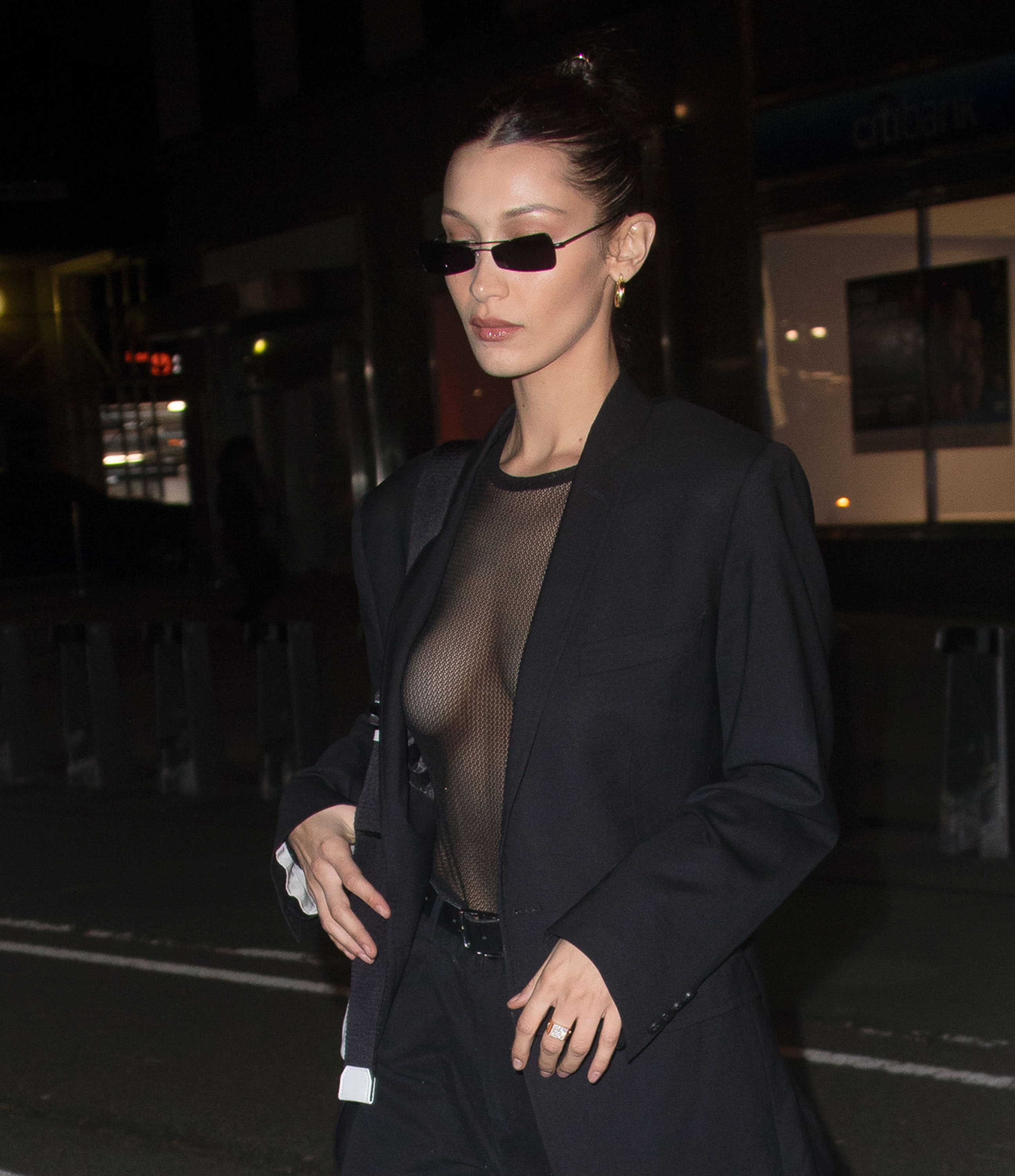 Bella Hadid wears a sheer see-through black top when out and about in New York, 11/04/2018.