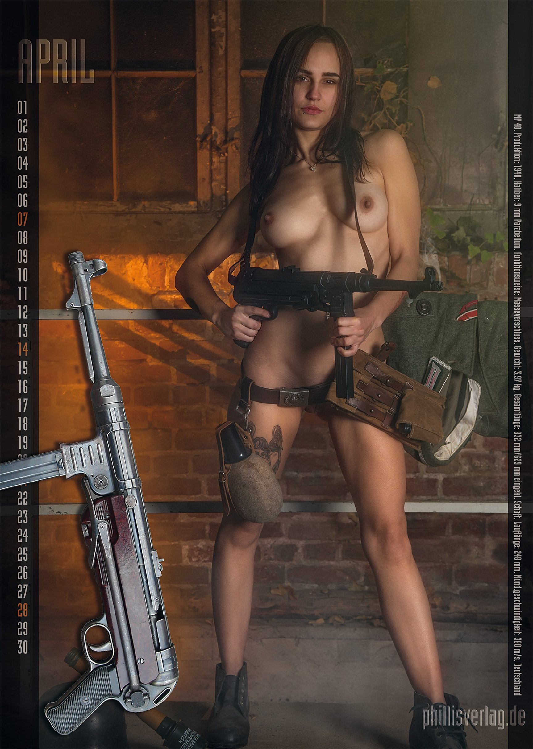 Girls and Guns / 2019 calendar by Jorg Neubert - апрель