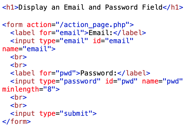 email type and password type input coding