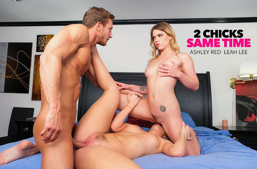Ashley Red, Leah Lee, Ryan Mclane – 2 Chicks Same Time – Naughty America