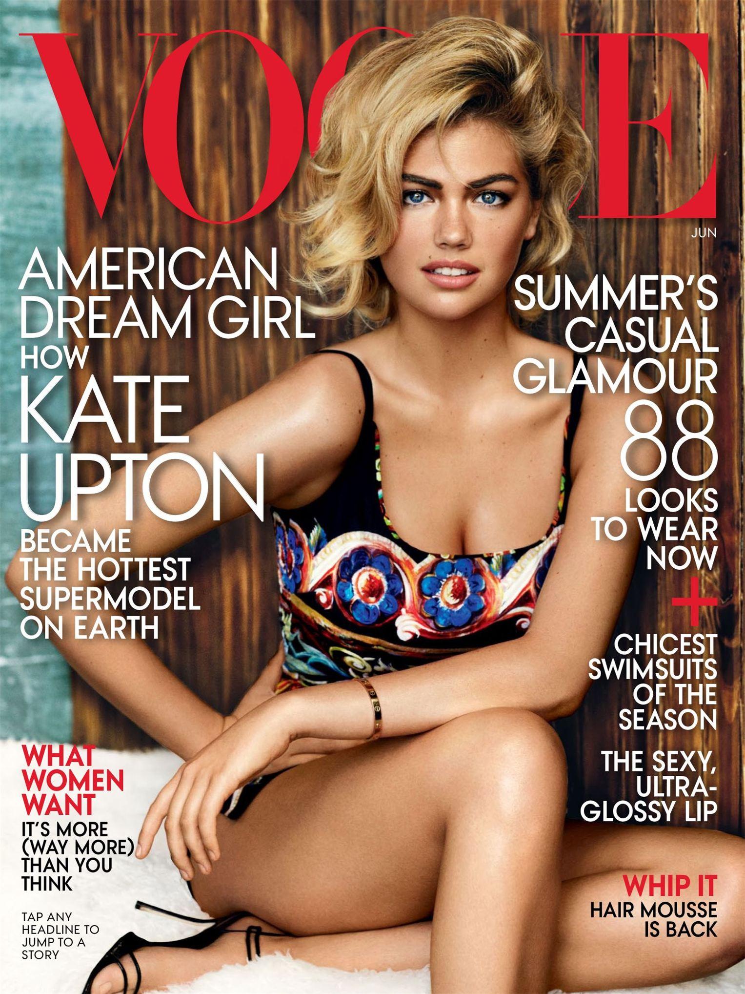 Kate Upton / Кейт Аптон - самая горячая супермодель мира на обложке журнала Vogue US, июнь 2013 / фотограф Mario Testino