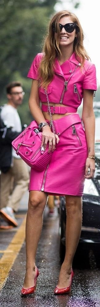 Neon pink leather skirt-8277