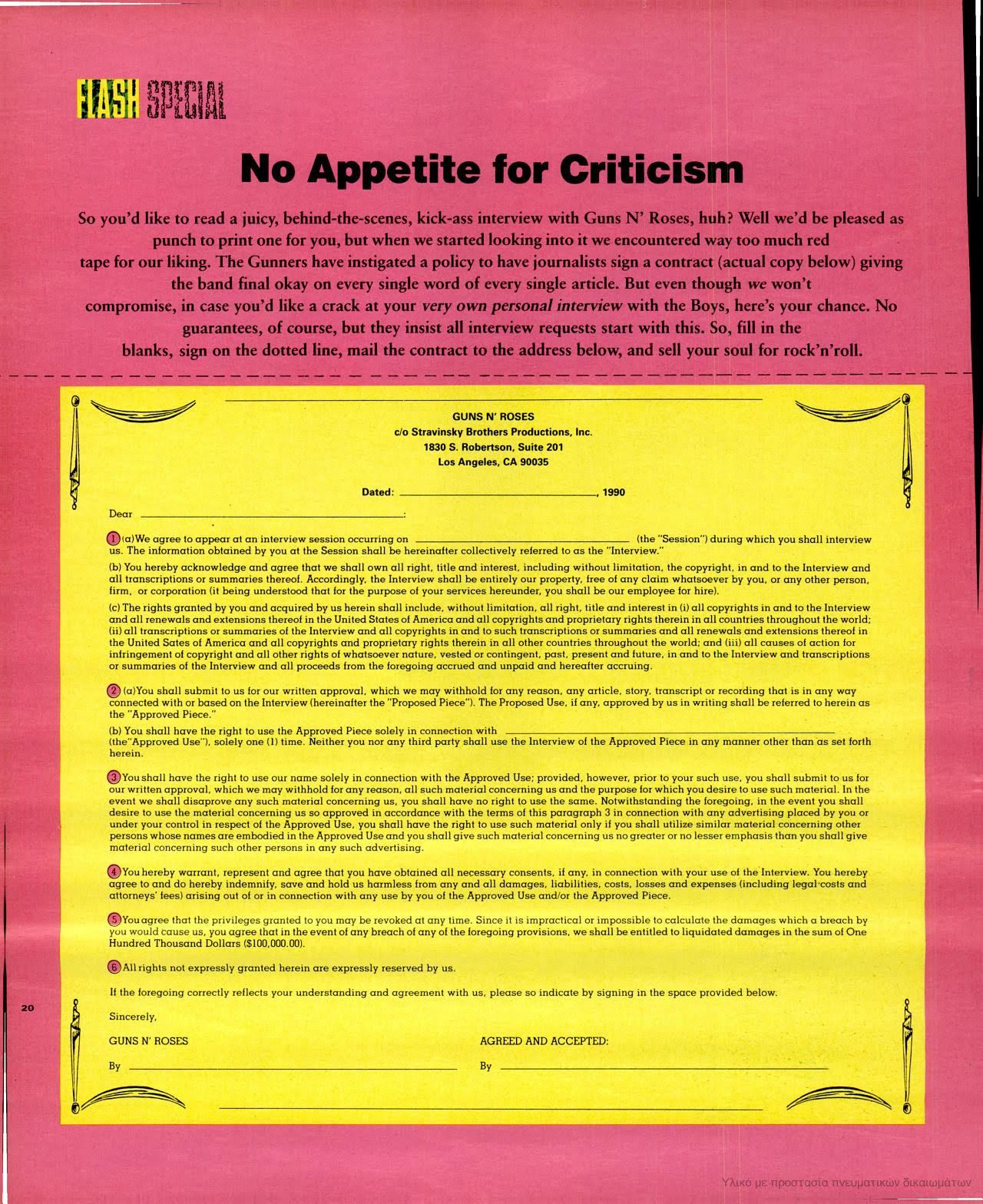 1991.06.DD - Spin Magazine - No Appetite for Criticism (Guns N' Roses contract for the press) LoaPcPj2_o