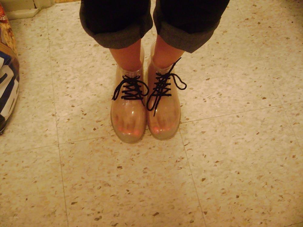 Womens white rain boots-6627