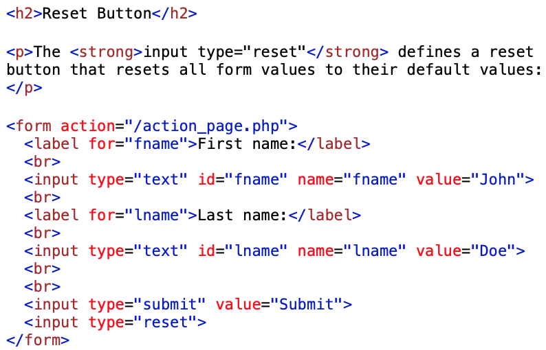 form reset button examples