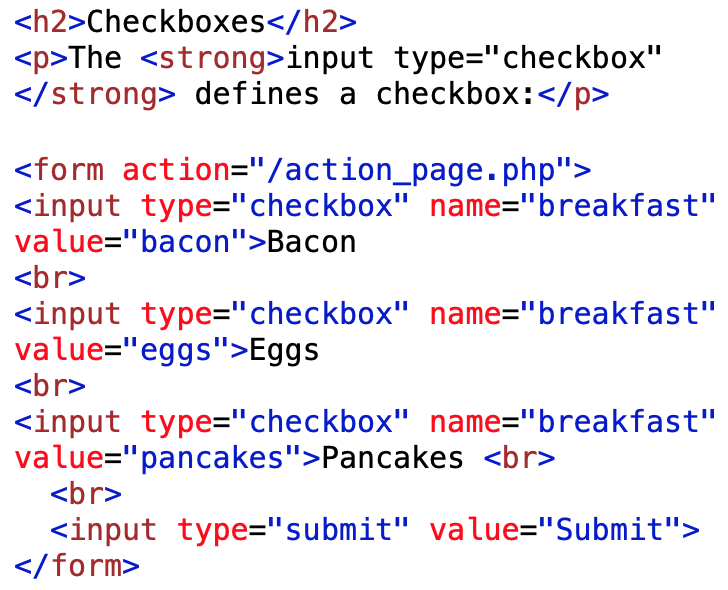 checkbox type input field example