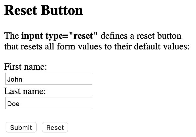 form reset button render