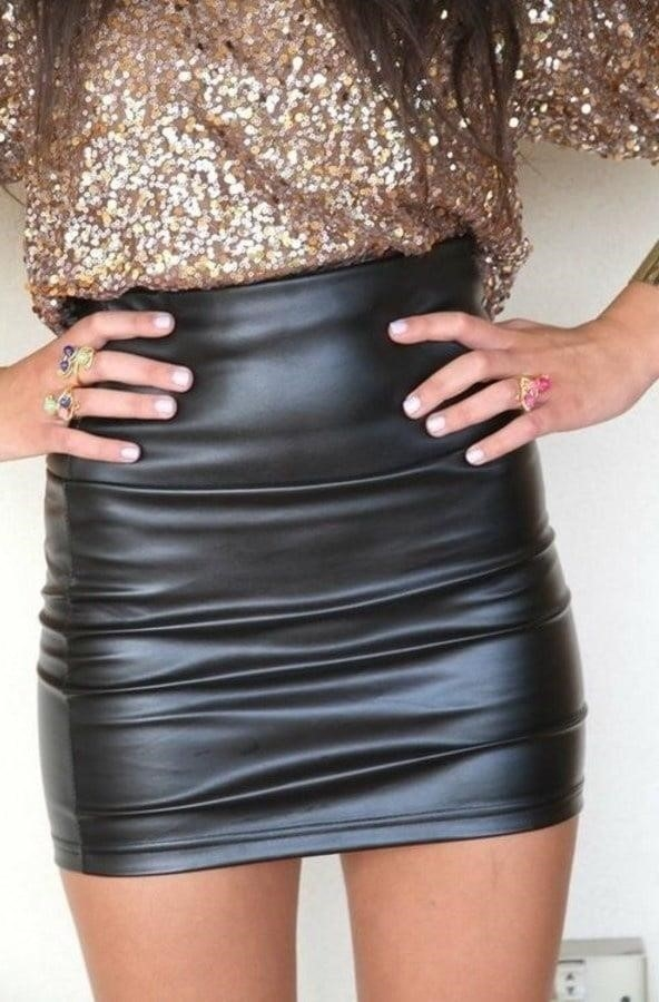 Sexy leather mini skirt-6971